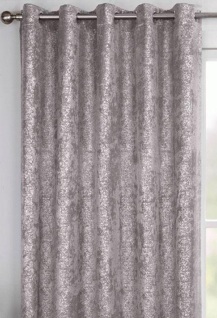 Cairo Grey Eyelet Curtains 1