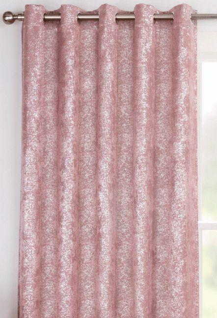 Cairo Pink Eyelet Curtains 1