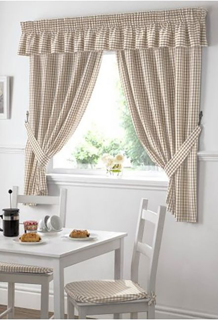 Dorothy Gingham Beige Curtains