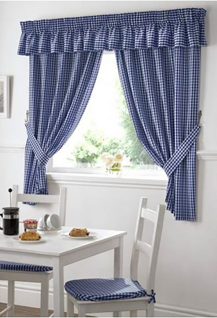 Dorothy Gingham Blue Curtains
