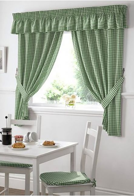 Dorothy Gingham Green Curtains