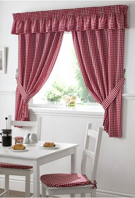 Dorothy Gingham Red Curtains