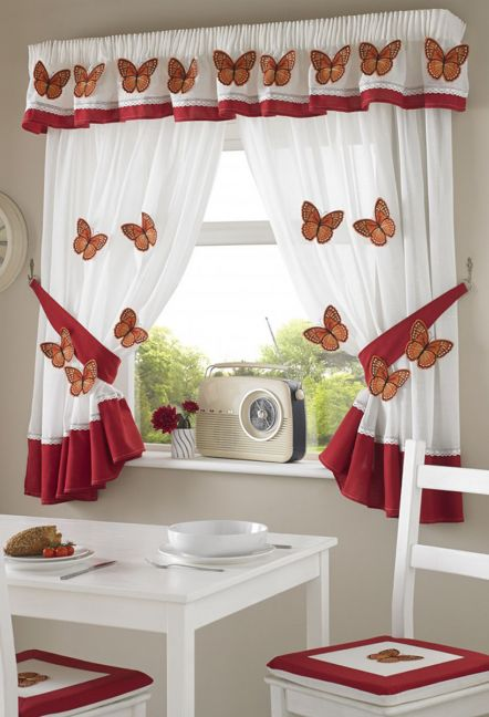 Flutter Butterfly White and Red Curtains