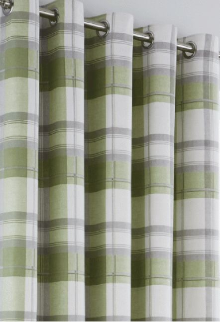 Hilton Green Eyelet Curtains 1