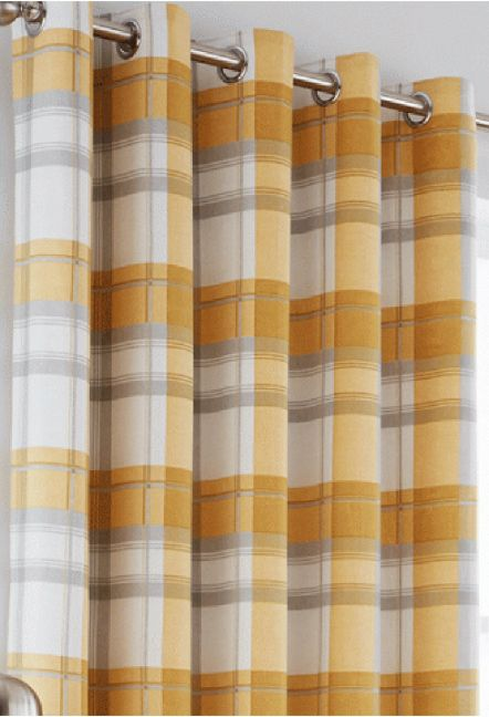 Hilton Ochre Eyelet Curtains 1