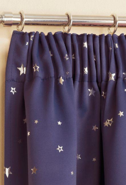 Luna Navy Tape Top Curtains 1