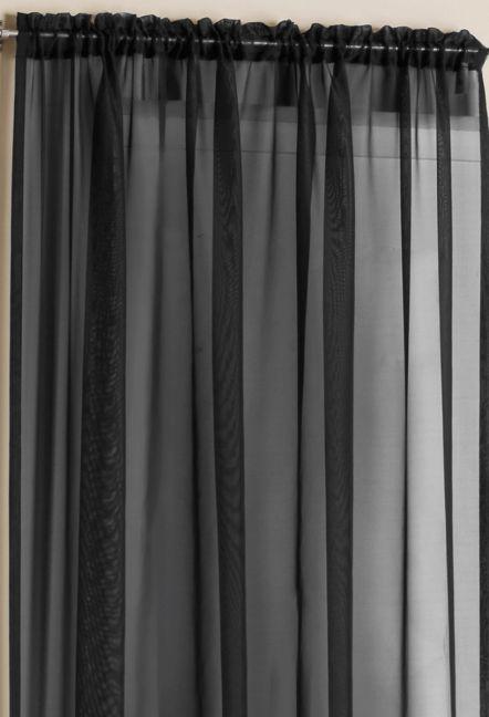 Orlando Black Plain Voile Panel