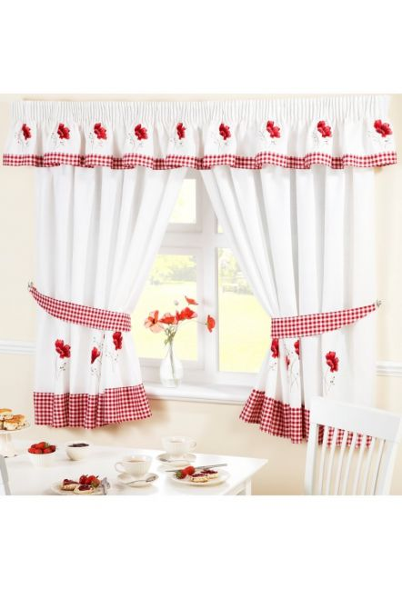 Preston Poppies Red and White Curtains