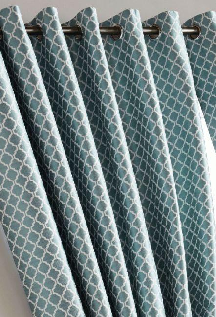 Stamford Teal Eyelet Curtains 1