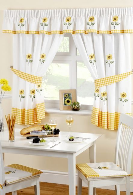 Sunflowers White and Yellow Curtains 1