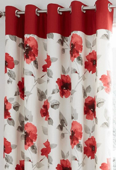 Ventura Red Eyelet Curtains 1