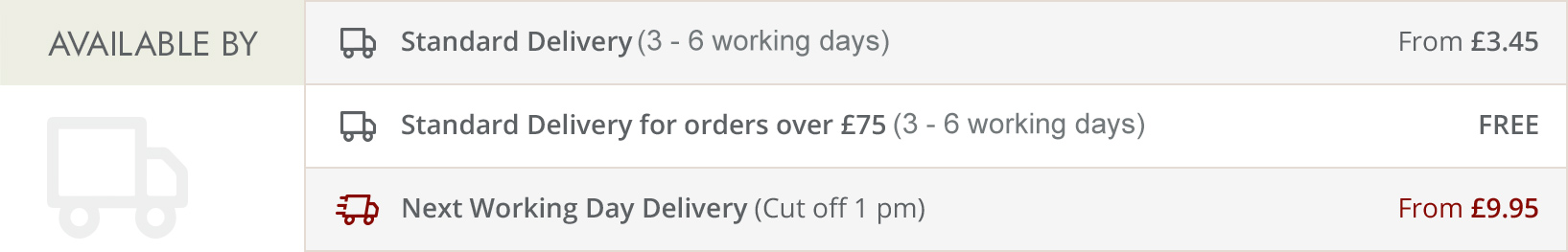 Standard Delivery 7 - 9 working days